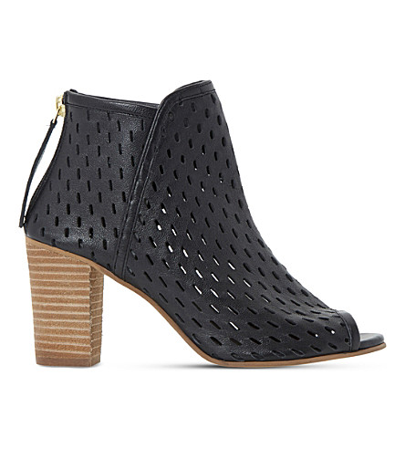 DUNE Iola perforated leather sandals (Black-leather