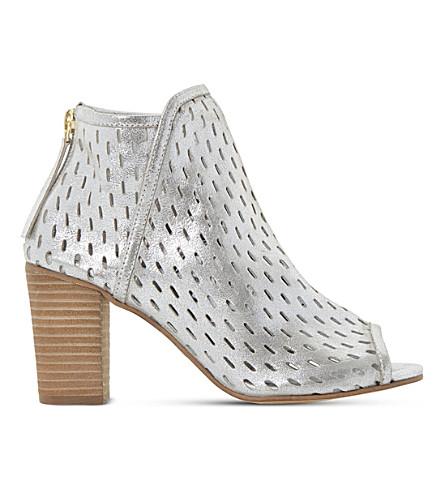 DUNE Iola perforated metallic leather sandals
