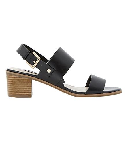 DUNE Jakob stacked heel leather sandals (Black leather