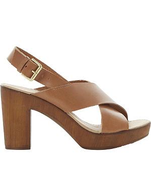 DUNE Fraggel leather clog heel sandals
