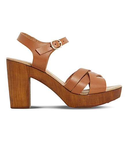 DUNE Jani cross-strap suede sandals (Tan-leather