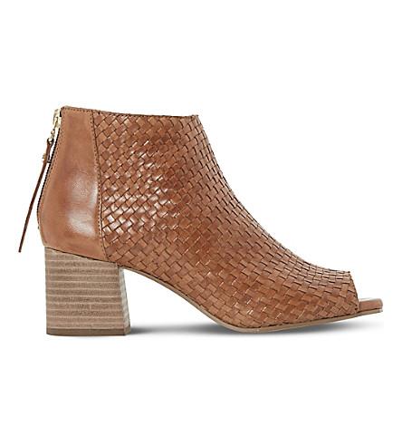 DUNE Idoll 皮革鞋跟靴 (棕褐色皮革