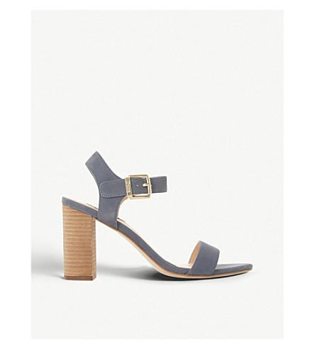DUNE Isobel leather heeled sandals (Blue-nubuck