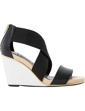 DUNE Kaye cross-over wedge sandals