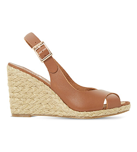 DUNE Kia leather wedge sandals (Tan-leather
