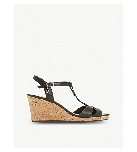 Koala plait T-bar cork wedge heels