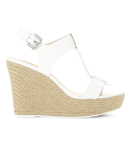 DUNE Kelby reptile-effect leather wedges (White-reptile