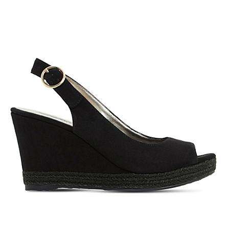 DUNE Klick espadrille trim suede sandal (Black-micro+fibre