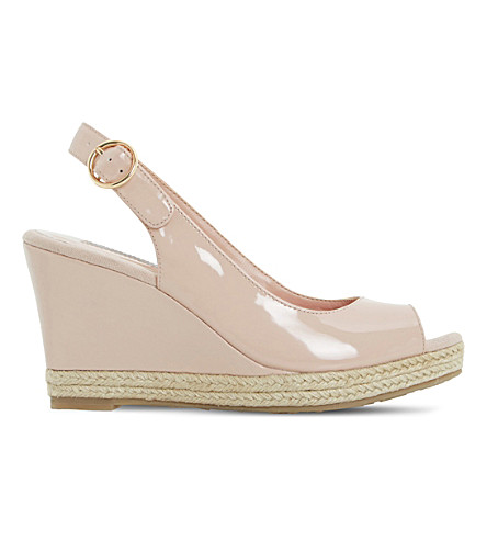 DUNE Klick espadrille trim leather sandal (Nude-patent+synthetic
