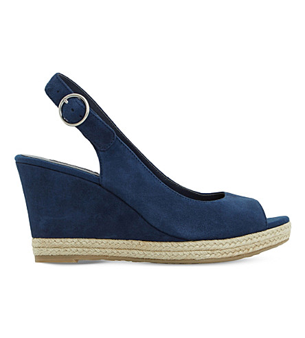 DUNE Klick espadrille trim suede sandals (Navy-suede