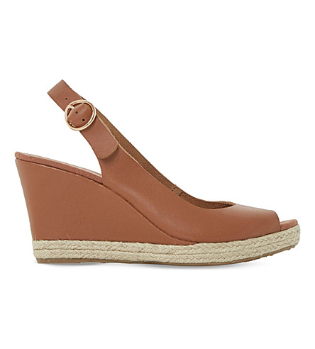 DUNE Klick espadrille trim suede sandals (Tan-leather