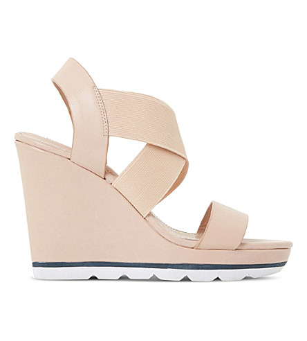 DUNE Kalifornia cross-strap wedge sandals (Nude