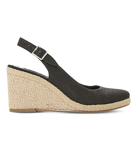 DUNE Kanvas slingback wedges (Black-canvas