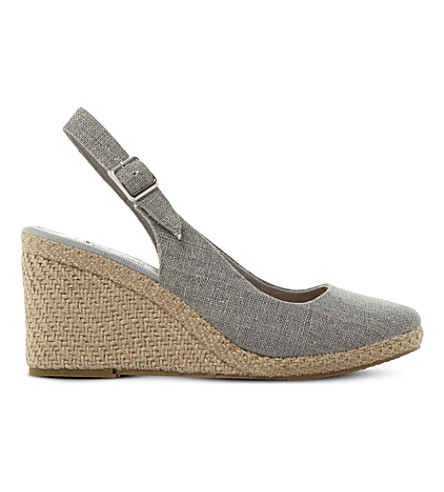 DUNE Kanvas slingback wedges (Grey-fabric