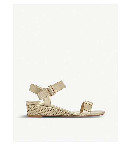 DUNE Karinaa laser cut metallic wedge sandals (Gold
