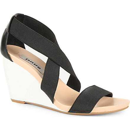 DUNE Glide elastic wedge sandals (Black-leather