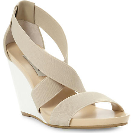 DUNE Glide elastic wedge sandals (Blonde-leather