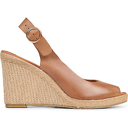 DUNE Gleeful leather wedge sandals (Tan-leather