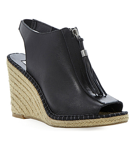 DUNE Gretal espadrille wedge sandals (Black-leather