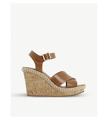 Karena stud wedge heel leather sandals