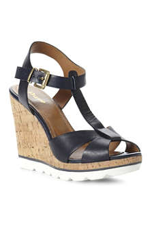 DUNE Giraffe t-bar wedge sandals