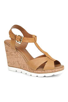 DUNE Giraffe leather wedge sandals