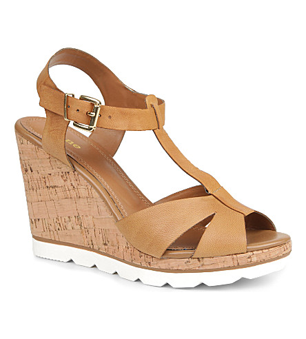 DUNE Giraffe leather wedge sandals (Tan-leather