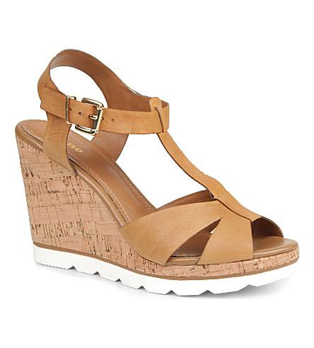 DUNE Giraffe leather wedge sandals (Tan-leather