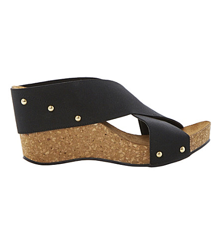 DUNE Gladley wedge sandals (Black-fabric