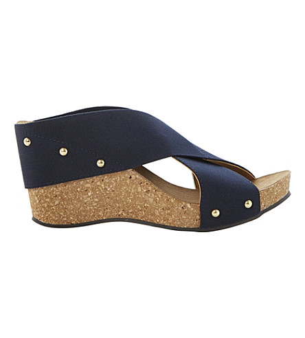 DUNE Gladley wedge sandals (Navy-fabric