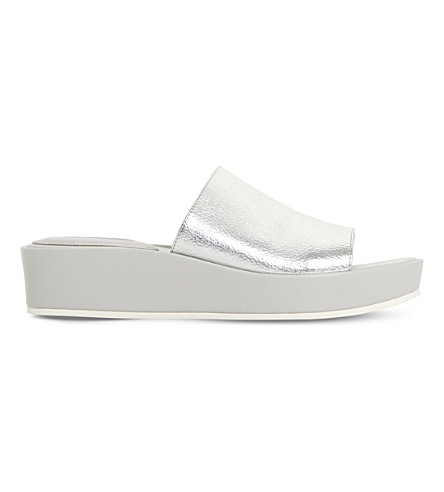 DUNE Kallie metallic flatform mule sandals (Silver-leather