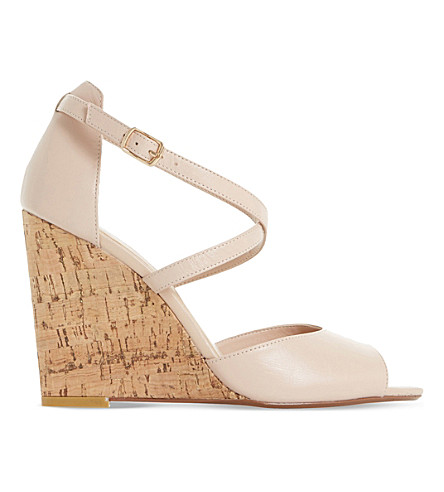 DUNE Kasino peep-toe leather wedges (Nude-leather