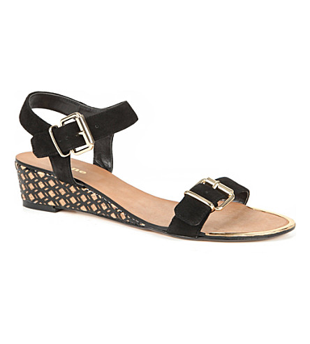 DUNE Geesha wedge sandals (Black-suede