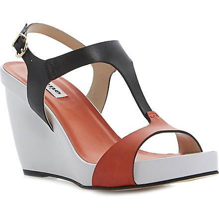 DUNE Giselle T-bar wedge sandals (Multi-leather