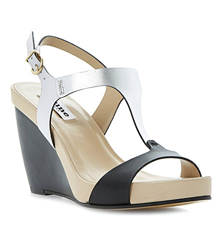 DUNE Giselle T-bar wedge sandals (Black-leather