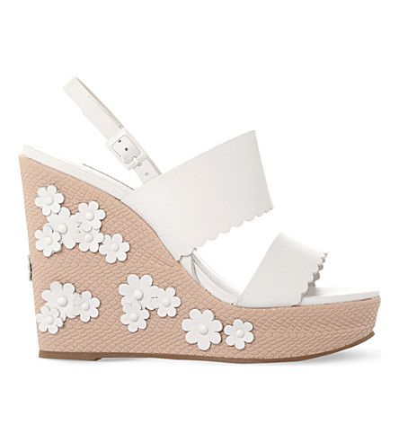 DUNE Flower-embellished leather wedges (White-leather
