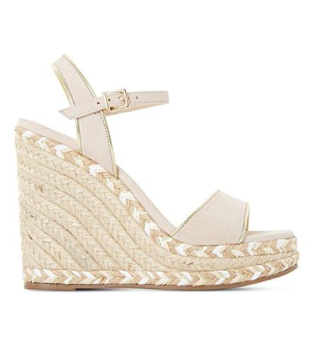 DUNE Krysie suede wedge sandals (Blush-suede