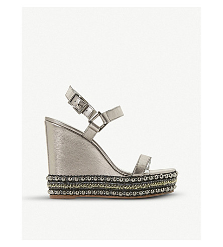 DUNE Kibble studded metallic-leather wedge sandals (Silver-leather