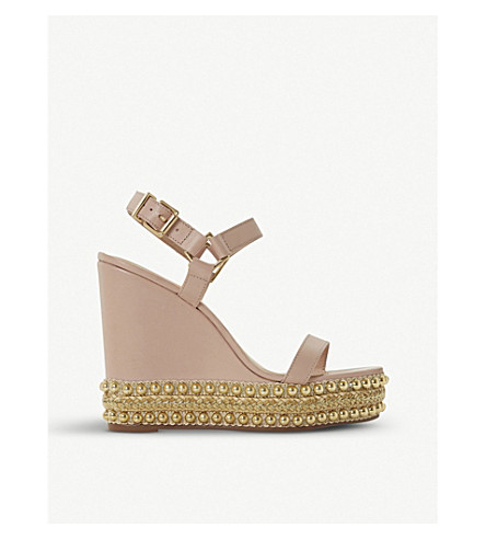 DUNE Kibble studded leather wedge sandals Blush-leather Free Shipping Wiki Buy Cheap Clearance Store Cheap Pictures Quality Original kiXwYUv