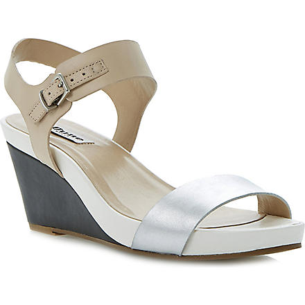 DUNE Getup leather wedge sandals (Nude-leather