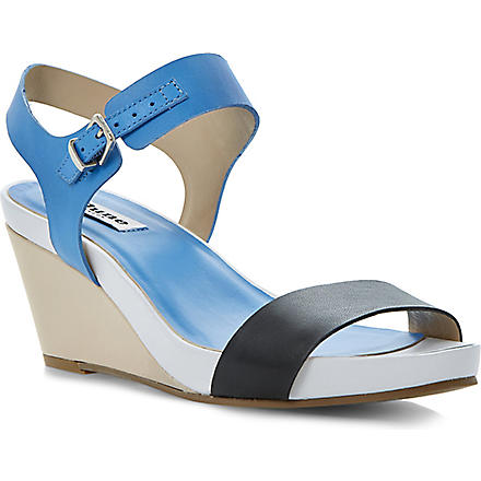 DUNE Getup leather wedge sandals (Blue-leather