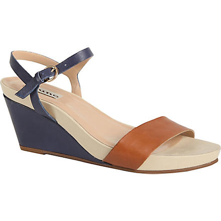 DUNE Gadget leather wedge sandals (Navy-leather