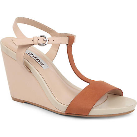 DUNE Genius t-bar leather wedge sandals (Nude-leather
