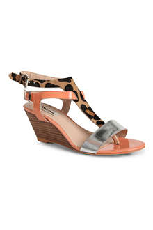 DUNE Gwinny leopard-print wedge sandals