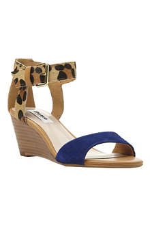 DUNE Ginni contrast print wedge sandals