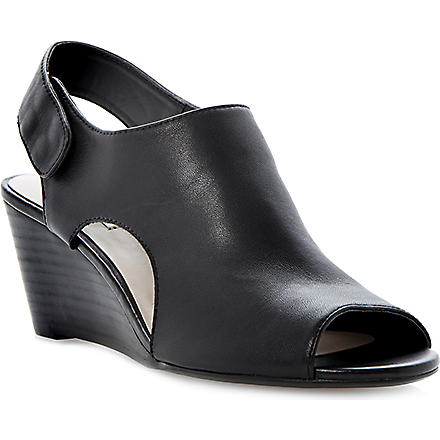 DUNE Giana leather wedge sandals (Black-leather