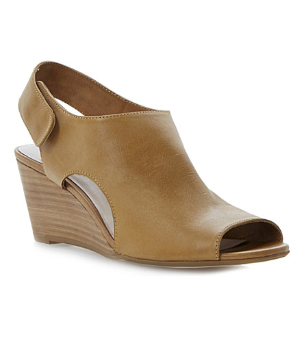 DUNE Giana leather wedge sandals (Tan-leather