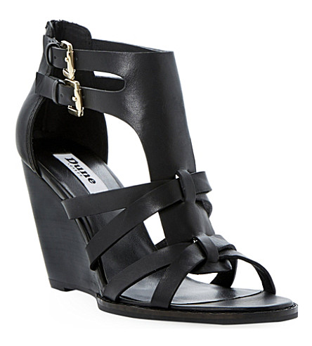 DUNE Gerad leather wedge sandals (Black-leather