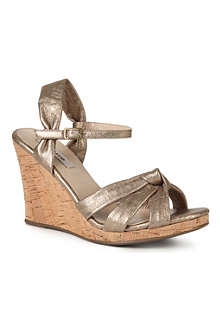 DUNE Garrison metallic leather wedge sandals