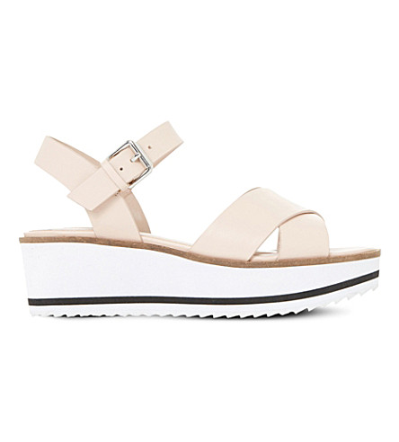 DUNE Kassius leather flatform sandals (Nude-leather